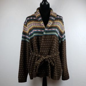 CHAPS Colorful Belted Open Front Cardigan